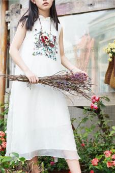 味道MOCI HIPAA木子衣芭女装森女系代言人布衣类设计师品牌绣花真丝连衣裙