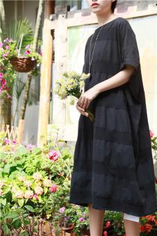味道MOCI HIPAA木子衣芭女装森女系代言人布衣类设计师品牌针织棉麻宽条纹连衣裙
