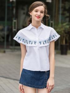 2017芝麻E柜女装新款白色衬衫