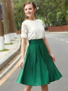 2017芝麻E柜女装新款绿色半裙