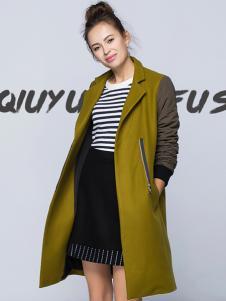 2017芝麻E柜女装新款军绿色大衣