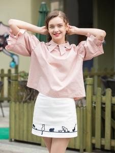 2017芝麻E柜女装新款粉色灯笼袖T恤
