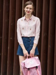 2017芝麻E柜女装新款浅粉色衬衫