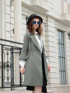 欧米媞女装新款银灰色大衣