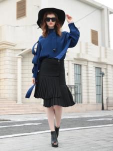 欧米媞女装新款蓝色卫衣