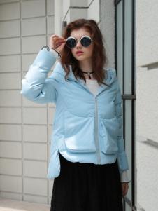 欧米媞女装新款浅蓝色羽绒服