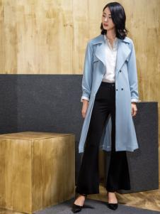 ECA女装蓝色大衣
