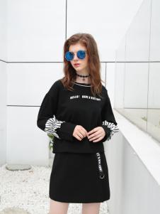 欧米媞女装新款黑色卫衣