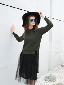 欧米媞女装新款军绿色卫衣