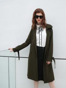 欧米媞女装新款绿色大衣