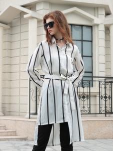 欧米媞女装新款长款衬衫