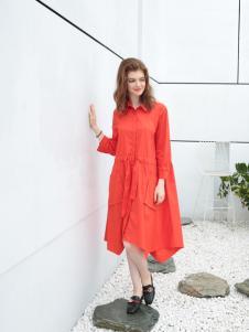 欧米媞女装新款橙红色连衣裙