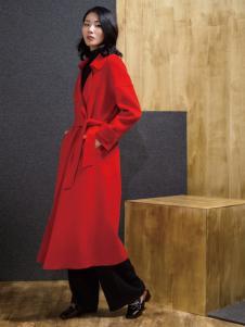 ECA女装红色双面呢大衣