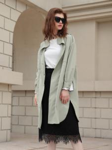 欧米媞女装新款浅色大衣
