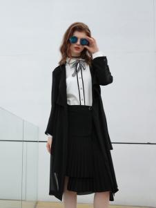 欧米媞女装新款黑色大衣