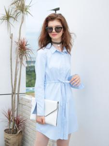 欧米媞女装新款浅色连衣裙