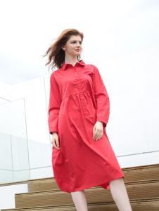 欧米媞女装新款红色连衣裙