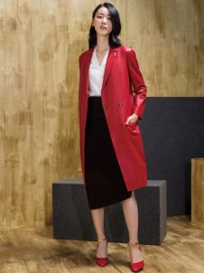 ECA女装红色风衣