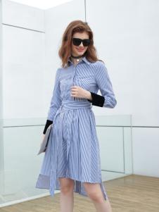 欧米媞女装新款条纹连衣裙