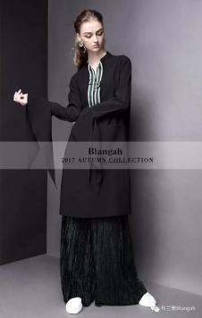 布兰雅2017黑色长款衬衫