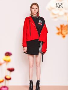 佧茜文红色外套
