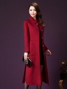 司合伊17秋冬新款红色大衣