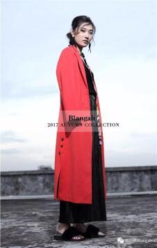 布兰雅2017红色长款外套