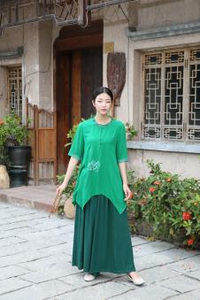 木棉道女装新款棉麻裙子