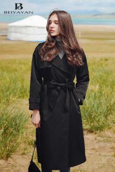 贝雅颜2017经典黑色大衣