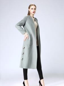 韩菲斯女装韩菲斯2017秋冬新款银灰色大衣