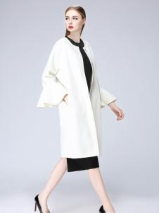 韩菲斯2017秋冬新款白色荷叶袖大衣