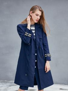 艾诺绮女装秋冬新款蓝色大衣