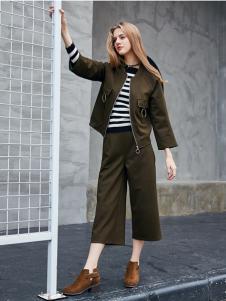 艾诺绮女装秋冬新款深棕色套装