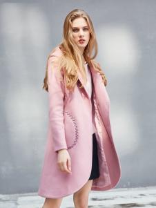艾诺绮女装秋冬新款粉色大衣