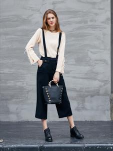 艾诺绮女装秋冬新款黑色背带裤