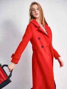 艾诺绮女装秋冬新款红色大衣