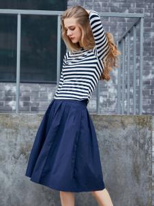 艾诺绮女装秋冬新款蓝色短裙