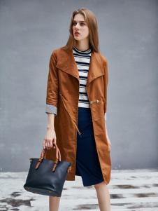 艾诺绮女装秋冬新款棕色大衣
