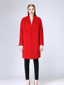 韩菲斯女装韩菲斯2017秋冬新款红色大衣