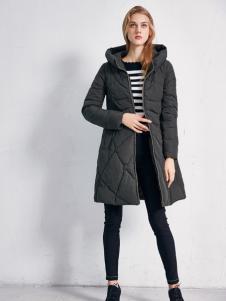 艾诺绮女装秋冬新款灰色羽绒服