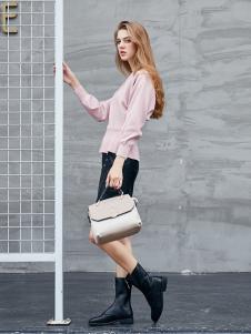 艾诺绮女装秋冬新款粉色卫衣