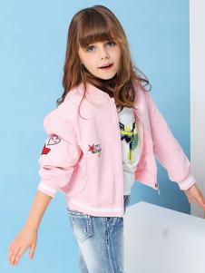 小猪班纳女童粉色休闲外套