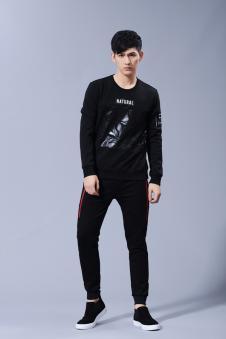新佳娜T恤男款黑色图案
