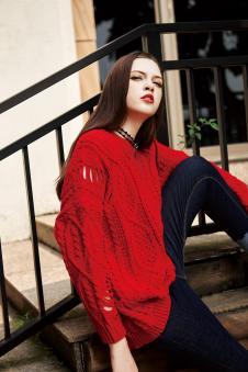冬装红色毛衫