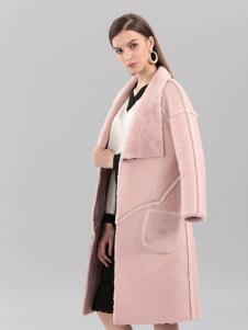 艾丽哲秋冬新款粉色毛呢大衣