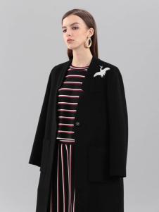 艾丽哲秋冬新款黑色大衣