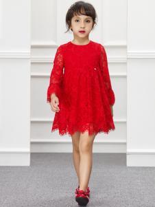 IKKI女童红色连衣裙