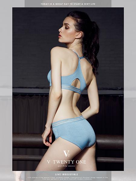 V21快时尚内衣新款浅蓝色文胸套装