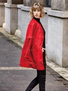 37度LOVE女装红色外套