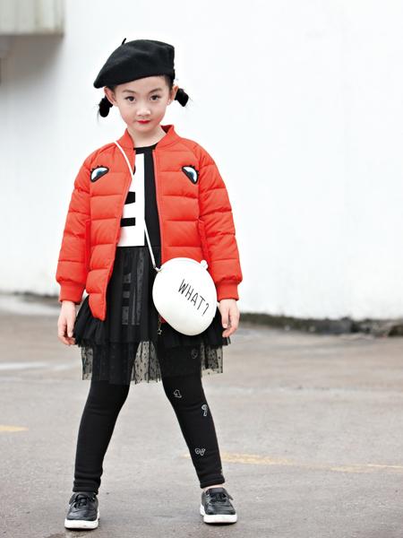 玛玛米雅2017秋冬橙红色羽绒服